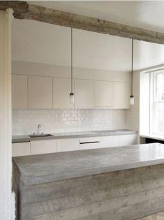 Concrete and white kitchen - different angle
