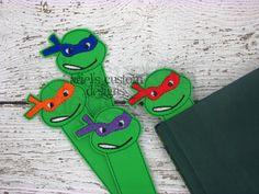 Ninja Turtle Bookmark - TMNT Raphael Donatello Leonardo Michelangelo - Party Favor - TMNT Birthday Party by ArielsCustomDesigns on Etsy