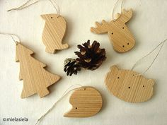 Christmas tree decorations wooden tree ornaments by mielasiela