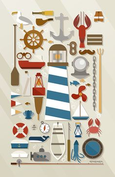 Nautical Collection | Ocean Art Print | Lighthouse Graphic Decor | Knolling Poster | The beauty of the sea is simply awe-inspiring, with the expansive waters full of such amazing life and also used for so much travel. This nautical collection, laid out in a knolling display, assembles over 30 items related to the sea, marine travel, fishing, and ocean life. By DaydreamHunter on Etsy.