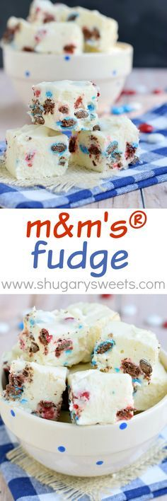 Sweet, easy M&M'S® FUDGE recipe. Use any color candy for your favorite holiday! On this site more fun ways when making fudge. Jello Recipes, Fudge Recipes, Candy Recipes, Sweet Recipes, Dessert Recipes, Kid Recipes, Whole30 Recipes, Vegetarian Recipes, Cooking Recipes