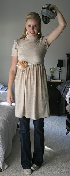 another cute dress over jeans #40PlusCasualStyleChallenge