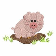 Farm Animal Pig embroidery design