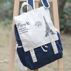 Université style la tour Eiffel Sac de toile Cartable Sac à dos