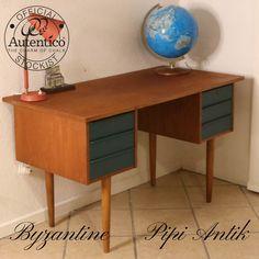 Retro teak skrivebord med Byzantine skuffer Autentico kalkmaling