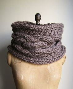 Oversized Cable knit cowl Walnut. Infinity scarf by Happiknits, $98.00