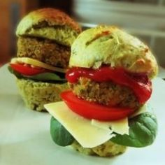 Recipe For Falafel Burgers These tasty little sliders are great. Packed with protein, they're low in fat and high in fiber.