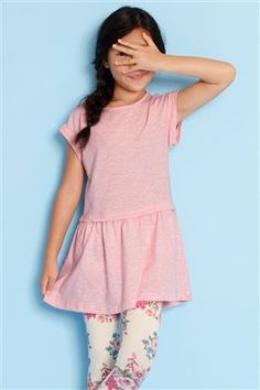 Pink Tunic And Printed Leggings Set (3-12yrs)