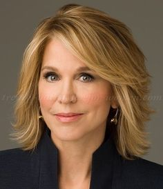 medium hairstyles over 50 - Paula Zahn layered bob haircut
