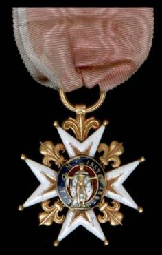 Order of St Louis, Knight's breast badge.  This was a military Order of Chivalry founded on 5 April 1693.  The King was the Grand Master of the Order and the Dauphin was automatically a member. The Order had three classes (Grand Cross, Commander and Chevalier (Knight).  The Order was reinstated in 1830 by King Louis XVIII, but was abolished in 1830 by Kng Louis-Philippe.