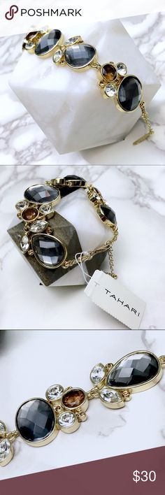"""Tahari Floral Stones Bracelet Beautiful Tahari Piece. Brand new with tags. It has a 1.5"""" extender and it measures 5.5"""" total. It is meant for a small wrist. Tahari Jewelry Bracelets"""