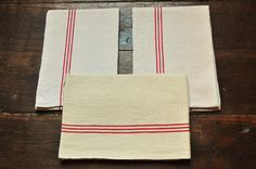 "N-75 : Lot of three antique dish towels made of ""métis"" (Mix of linen and cotton) str... €33"