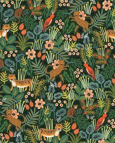 Cotton + Steel Rifle Paper Co. Menagerie Canvas Rifle Paper Co. Jungle Pattern, Motif Jungle, Jungle Print, Textile Patterns, Print Patterns, Textiles, Kids Patterns, Style Floral, Jungle Scene