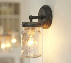 Exeter Sconce #potterybarn - for over /next to bed?    http://www.potterybarn.com/products/exeter-mason-jar-sconce/?pkey=csconces-wall-lamps_src=sconces-wall-lamps||NoFacet-_-NoFacet-_--_-