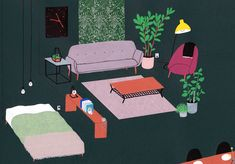 <p>Lianne Nixon is an illustrator based in Haarlem in the Netherlands. Her stark illustrations of various interiors were inspired by a purchase of an iconic DAW chair by Charles Eames. Since then, she
