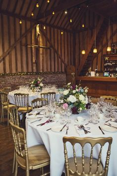 The wedding reception room. Click on the image to see the full gallery 'Real wedding: autumnal ardour in Berkshire'.