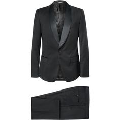 Dolce & Gabbana Black Slim-Fit Wool-Blend Three-Piece Tuxedo (27,660 GTQ) ❤ liked on Polyvore featuring mens, men's clothing, men's suits e black