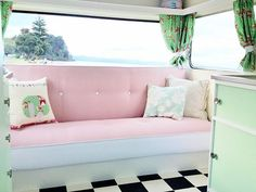 A Perfect Pastel Caravan Can Look Like pink couch in vintage caravanPastel (disambiguation) Pastel is the art medium. Pastel may also refer to: Vintage Campers, Camping Vintage, Vintage Rv, Vintage Caravans, Vintage Travel Trailers, Vintage Motorhome, Shabby Chic Caravan, Retro Caravan, Caravan Makeover
