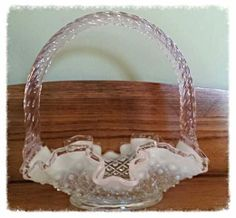 Cute little pink Opalescent hobnail Fenton  glass wedding basket.