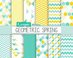 """Geometric digital paper: """"GEOMETRIC SPRING"""" digital paper pack with yellow and teal / turquoise geometric patterns and backgrounds Digital Scrapbook Paper, Papel Scrapbook, Digital Papers, Pattern Art, Pattern Paper, Pattern Design, Textile Patterns, Geometric Patterns, Paper Tape"""