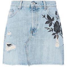 Rag & Bone Women's Ramona Embroidered Denim Mini Skirt (€250) ❤ liked on Polyvore featuring skirts, mini skirts, bottoms, denim, distressed denim skirt, blue skirt, high waisted denim skirt, mini skirt and short denim skirts