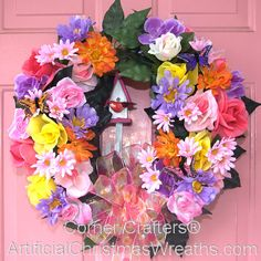 Birdhouse & Butterfly Wreath - 2013 - #butterflywreath #springwreath #floralwreath #butterflies