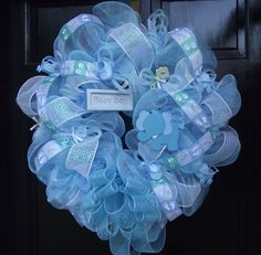 Image detail for -Deco Mesh BABY BOY Wreath by sayitwithawreathcom on Etsy