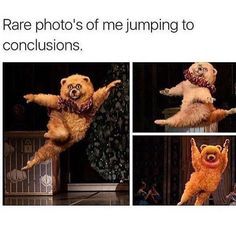 Rare photos of me jumping to conclusions. Lol. Funny