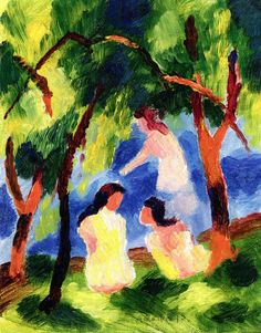 August Macke, Girls Bathing, 1913