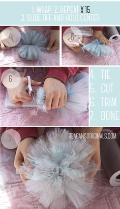 Diy Arts And Crafts, Diy Craft Projects, Diy Crafts To Sell, Paper Flower Patterns, Crochet Flower Patterns, Diy Hair Bows, Diy Bow, Tulle Crafts, Anniversary Crafts