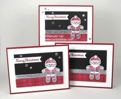 Cookie cutter christmas bundle, super cute santa with the warmth & cheer DSP stack, silver glitter ribbon www.barbstamps.com