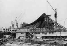 Olympic Village The construction of the National Gymnasium of the Olympic Village at Yoyogi in Tokyo, where the athletes will live for the duration of the games, 6th June 1964. The building was designed by Japanese architect Kenzo Tange. (Photo by Keystone/Hulton Archive/Getty Images)