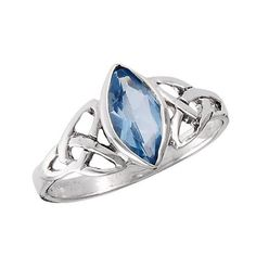 Sterling Silver .925 CELTIC TRIQUETRA Knot Ring Synthetic Blue TOPAZ Size 7