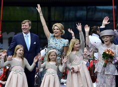 April 26, 2014-King Willem-Alexander, Queen Maxima, and Princess Beatrix with the Triple A's-Princesses Alexia, Ariane, and Amalia