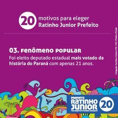 20 motivos para eleger Ratinho Junior prefeito. Compartilhe com os amigos o motivo N° 3 #equipenovasideias
