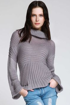 Pure Color Turtle Neck Long Sleeve Jumper GRAY: Sweaters | ZAFUL