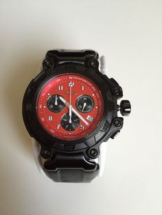 Oakley Crankcase Mens Watch. Red Dial. 3 Hand Chronograph.