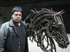 Оne more really beautiful iron sculpture. here it is - work by Adrian Aguilar… Metal Sculpture Artists, Steel Sculpture, Horse Sculpture, Animal Sculptures, Welding Art Projects, Steel Art, Scrap Metal Art, Iron Art, Art Archive