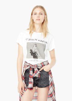 Printed cotton t-shirt - T-shirts for Women | MANGO