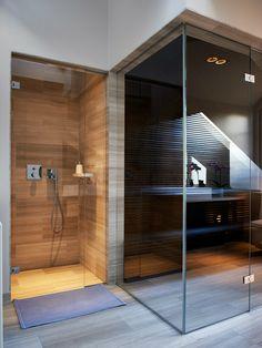 Beautiful Attic Penthouse by Jordens Architects Sauna Design, Home Gym Design, Modern House Design, Loft Bathroom, Dream Bathrooms, Small Bathroom, Inside A House, Sauna Room, Home Spa