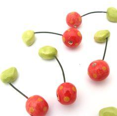 Cherry ceramic button #Cherry
