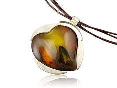 Silver handmade necklace with amber