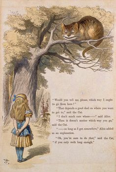"Tenniel (1820–1914) Sir John Tenniel's hand-colored proof of Cheshire Cat in the Tree Above Alice for The Nursery ""Alice"", ca. 1889,  by Charles Lutwidge Dodgson (Lewis Carroll)"