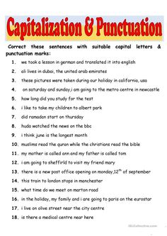 Capitalization & Punctuation worksheet - Free ESL printable worksheets made by teachers Teaching English Grammar, English Grammar Worksheets, 2nd Grade Worksheets, Letter Worksheets, Grammar Lessons, Kindergarten Worksheets, Printable Worksheets, Free Printable, Free Worksheets