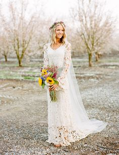 amazing lace wedding dress by Dreamers & Lovers.