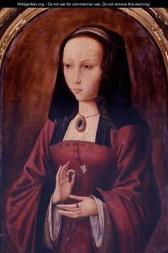 Joanna of Castile holding a carnation flower which was a sign of betrothal.