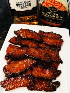 Candied bacon is taken to a whole new level of deliciousness with adding maple syrup and bourbon, Maple Bourbon Candied Bacon is so addicting! New Year's Eve Appetizers, Bacon Appetizers, Appetizer Recipes, Bourbon Recipes, Pork Recipes, Cooking Recipes, Fireball Recipes, Cooking Tips, Recipes