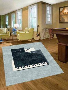 Custom Piano Cat Handtufted Rug