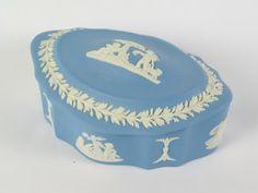 Vintage Wedgwood Jasperware Ribbed Oval Cherub Box.  On www.rhodonscollectables.co.uk