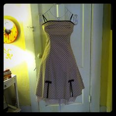 Super cute Strapless dress Strapless, beige with brown Polka dots and lace underlay on the bottom.  Zipper on back. Never worn.  Excellent condition! BCX Dresses Strapless